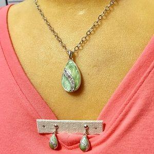 Jewelry - A green & rhinestones necklace w/earrings